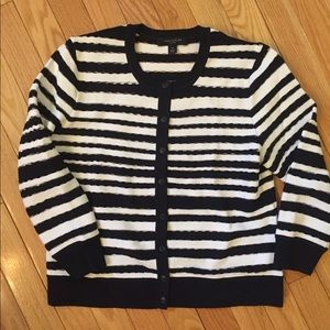 Ann Taylor Petite Navy and White Striped Cardigan